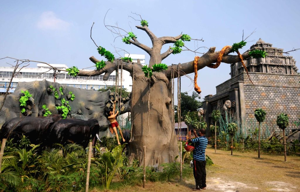 A community puja pandal on the theme of The Jungle Book comes up ahead of Durga Puja celebrations, at Salt Lake FD Block in Kolkata on Oct 20, 2020.
