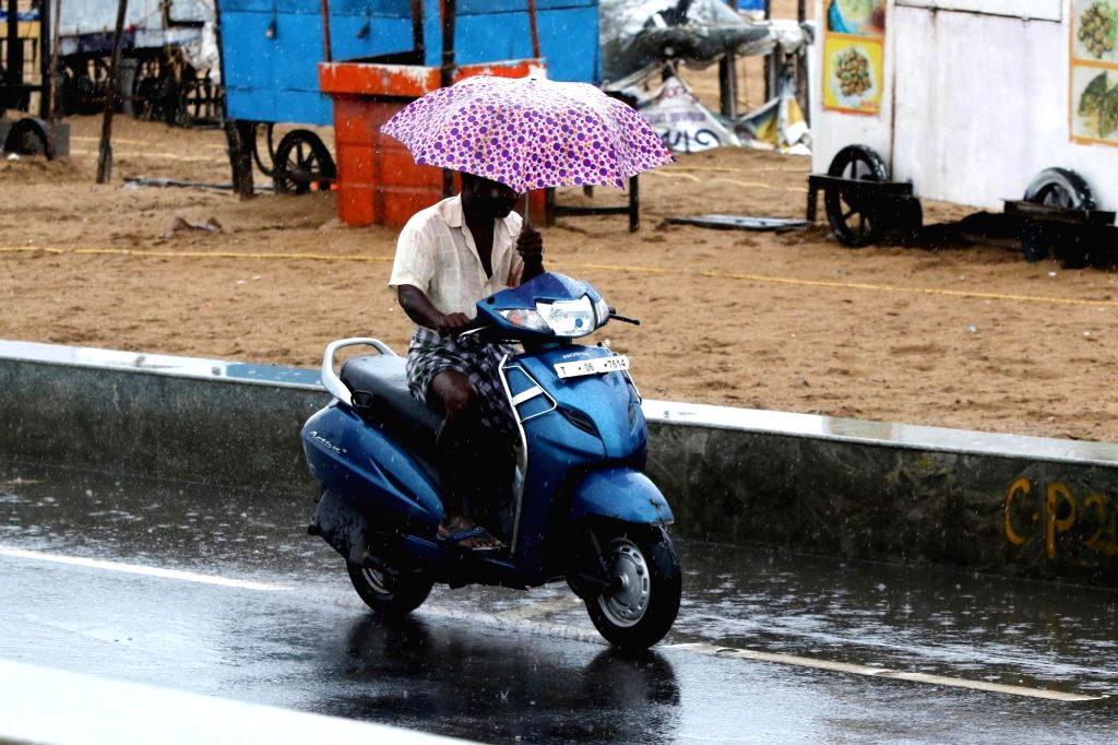 A commuter shields himself with an umbrella as he drives a two-wheeler during rains, in Chennai on Oct 17, 2019.