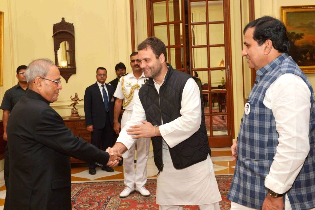 A Congress delegation led by party`s Vice President Rahul Gandhi calls on the President Pranab Mukherjee at Rashtrapati Bhavan in New Delhi on Nov 19, 2015. - Rahul Gandhi and Pranab Mukherjee