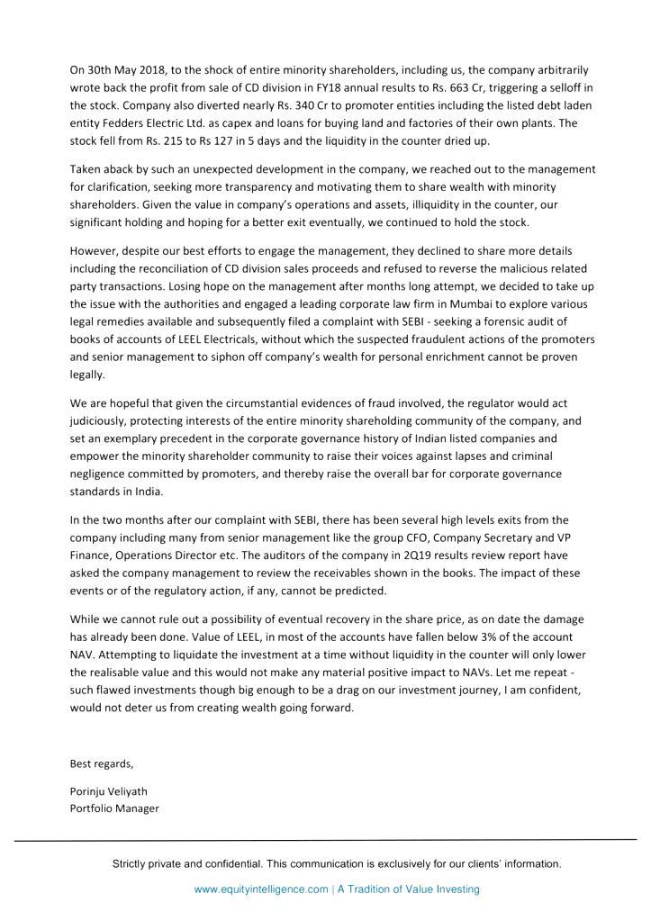 A copy of the letter written by Porinju Veliyath to investors.