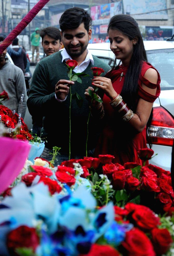 A couple celebrates Valentine's Day in Amritsar, on Feb 14, 2019.