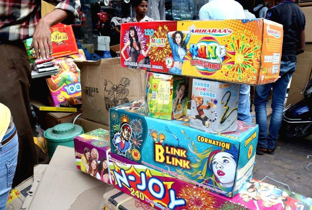 A cracker shop in New Delhi on Oct 23, 2016.