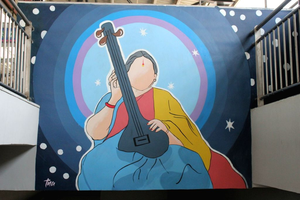 A creative portrait of Indian musician Shubha Mudgal at the Johri Enclave metro station. (Photo Credit: DMRC)