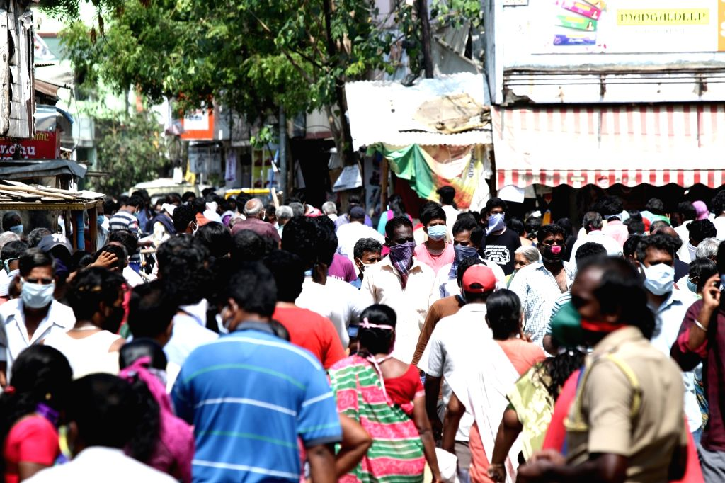 A crowded Chennai market with people violating social distancing orders during the extended nationwide lockdown imposed to mitigate the spread of coronavirus; on April 25, 2020.