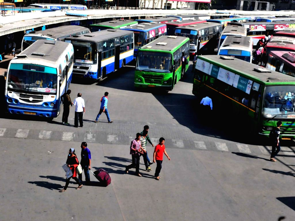 A crowded Majestic bus station in Bengaluru on Nov 28, 2016. Train and flight movement was normal, most vehicles hit the streets, and markets and shops mostly did normal business, as the ...