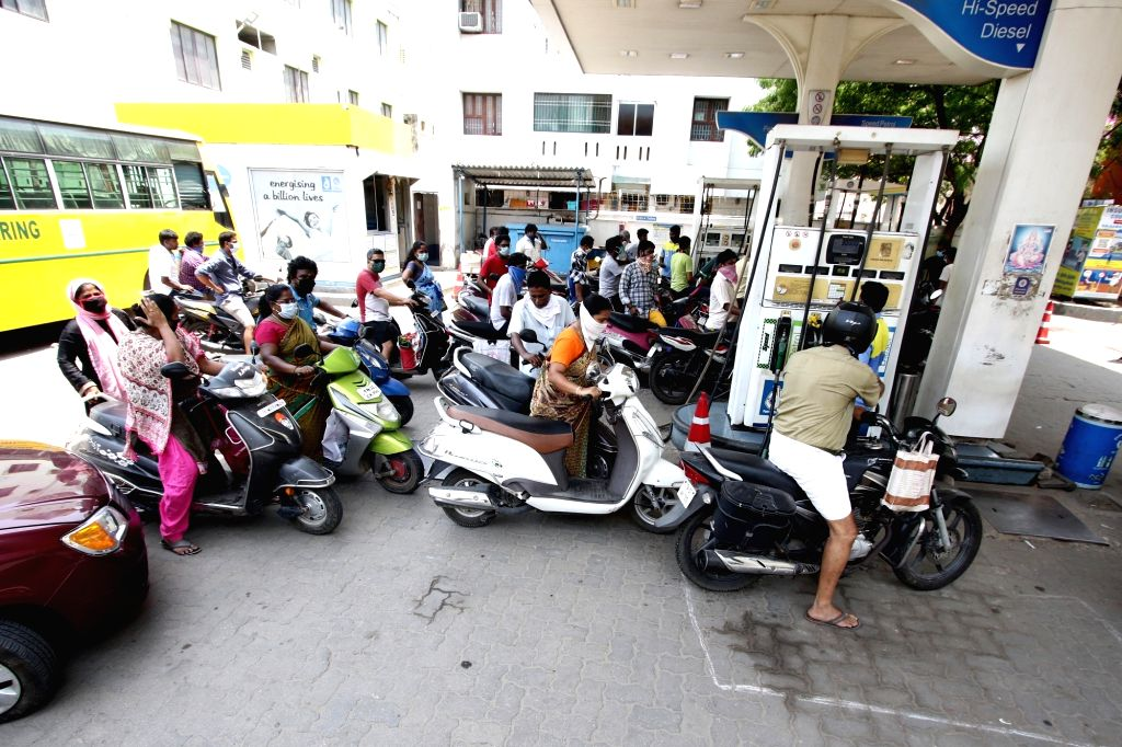 A crowded petrol pump in Chennai during the extended nationwide lockdown imposed to mitigate the spread of coronavirus; on April 25, 2020.