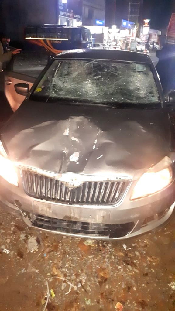A damaged car after it met with an accident in Dehradun on Sep 19, 2019. 5 persons were injured in the accident.
