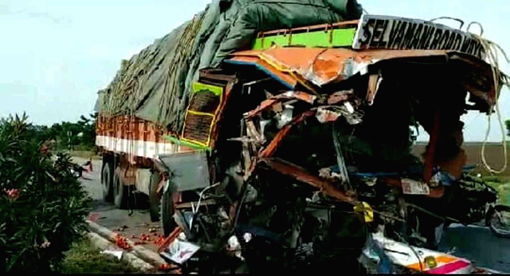 A damaged truck that rammed into another stationary lorry, killing two, at Undavalli of Jogulambad-Gadwal district in Telangana on Sep 14, 2019.