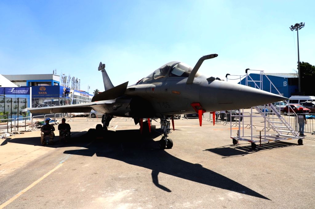 A Dassault Rafale jet during rehearsals for AERO India 2019 at Air Force Station Yelahanka in Bengaluru on Feb 18, 2019.