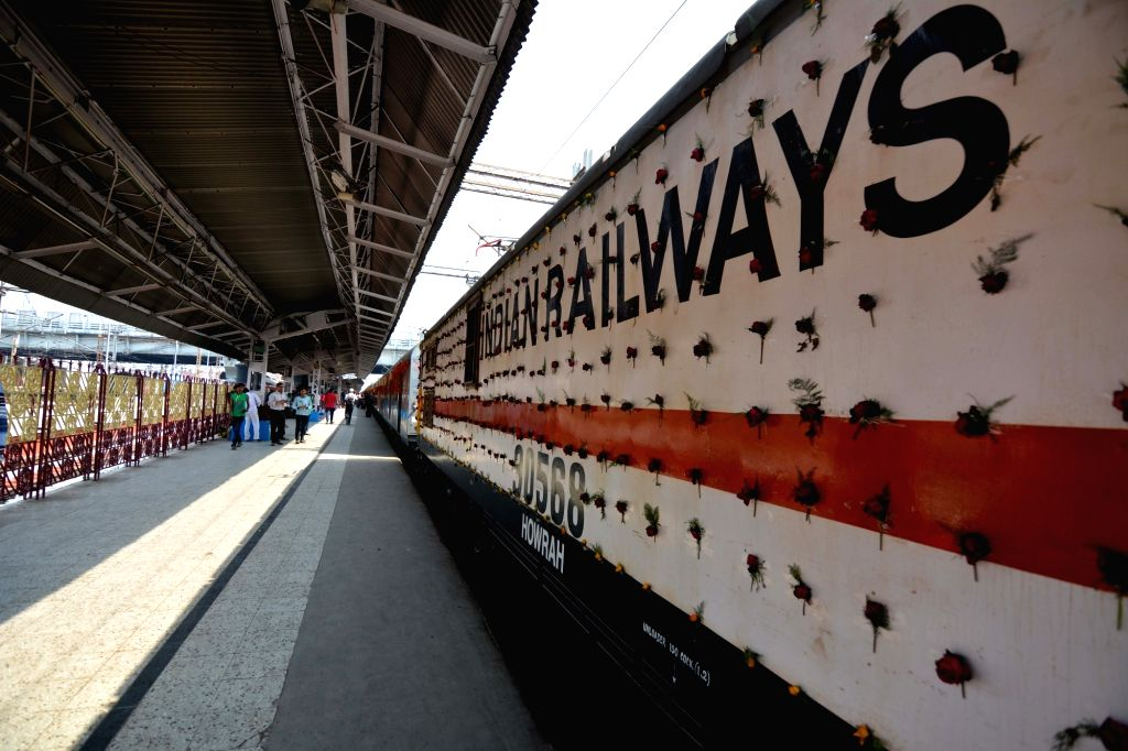 A decorated train of the Howrah Rajdhani Express during its 50 years celebration, in Howrah, on March 3, 2019.