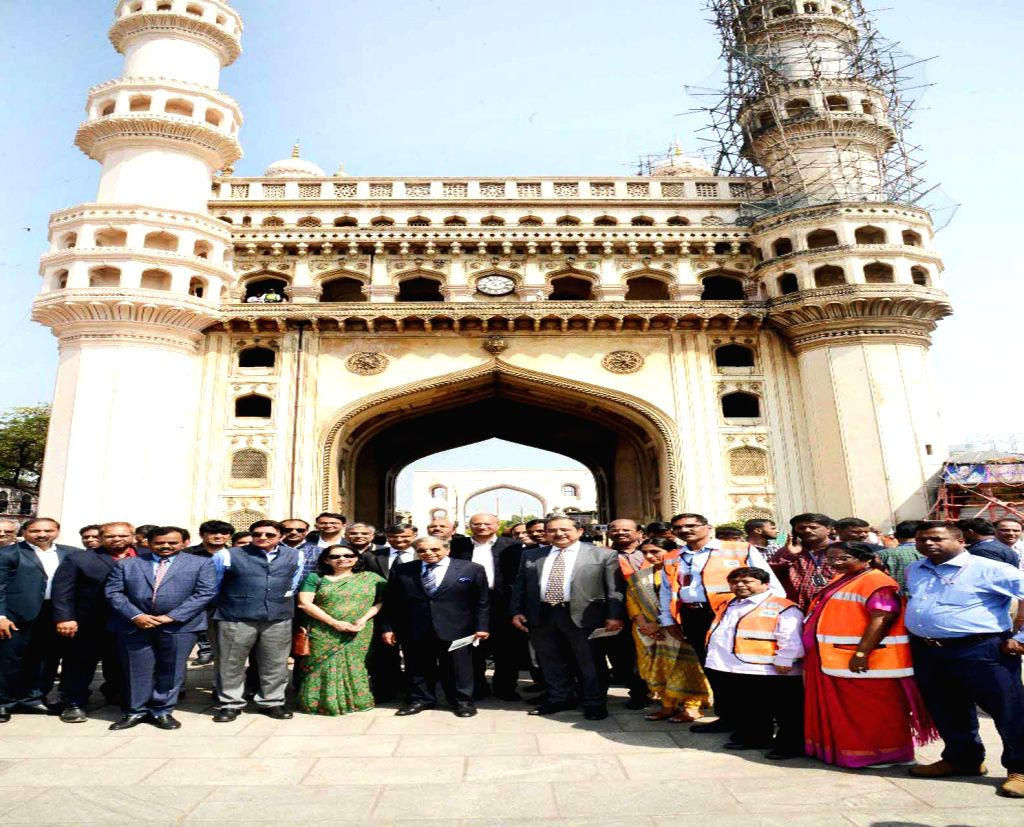 A delegation led by 15th Finance Commission Chairman NK Singh visits Charminar, in Hyderabad, on Feb 19, 2019.