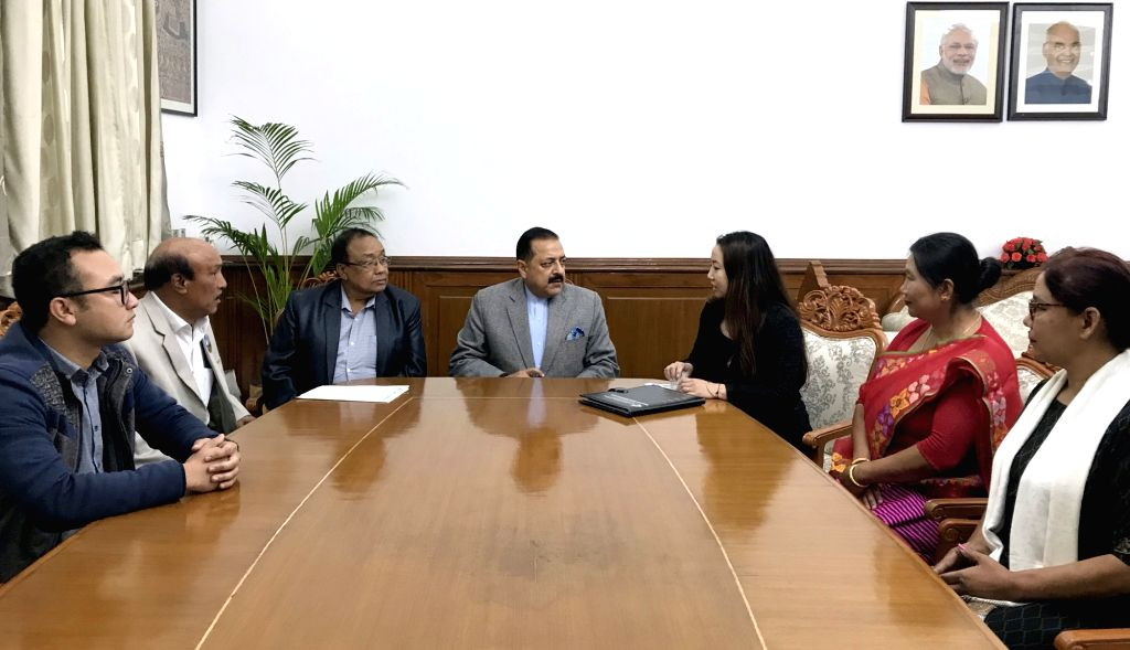 A delegation led by All Manipur Dalits Development Association (AMDDA) President T.M. Rajen Ayangba calls on Union MoS Development of North Eastern Region Jitendra Singh, in New Delhi, on ...