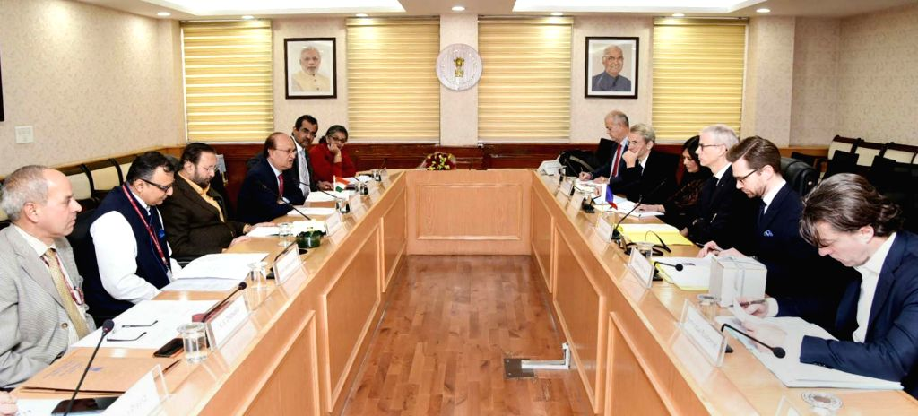 A delegation led by French Culture Minister Franck Riester meets Union Environment, Forest and Climate Change, Information & Broadcasting and Heavy Industries and Public Enterprise ... - Franck Riester