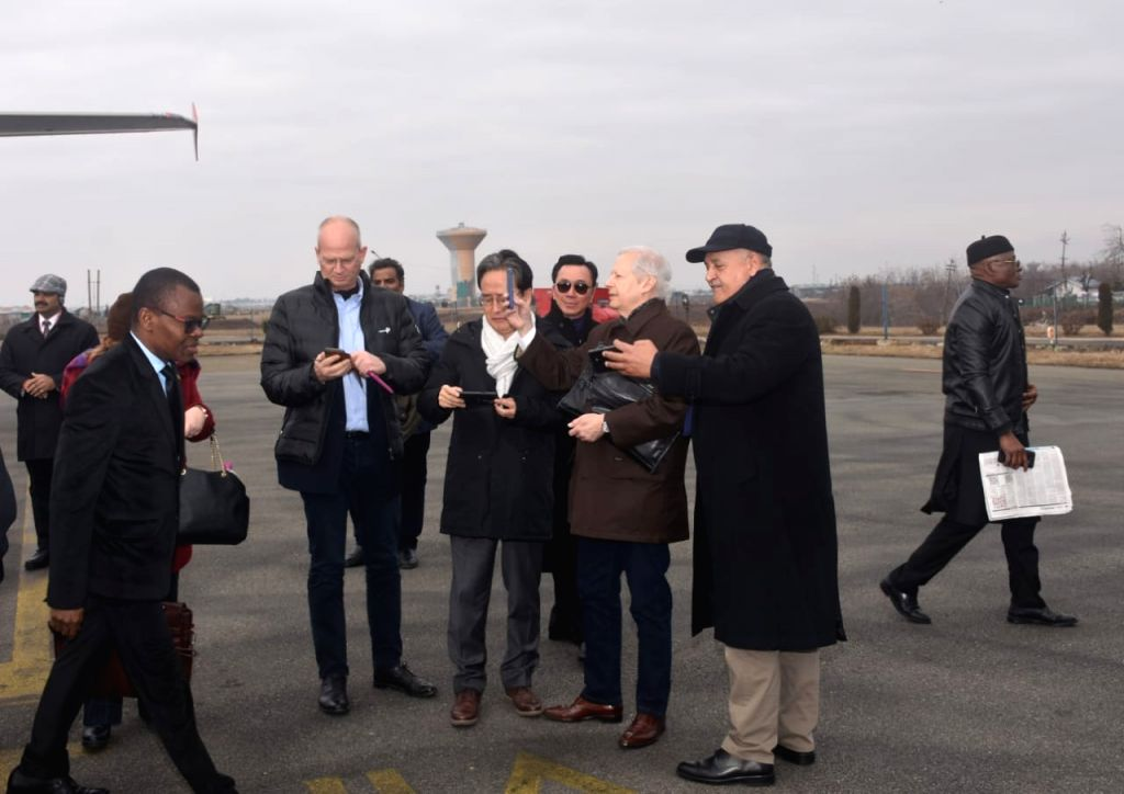 A delegation of 17 foreign envoys arrive in Srinagar to take stock of the ground situation in the Kashmir Valley, on Jan 9, 2020. US ambassador Kenneth I. Juster is also a part of the ...
