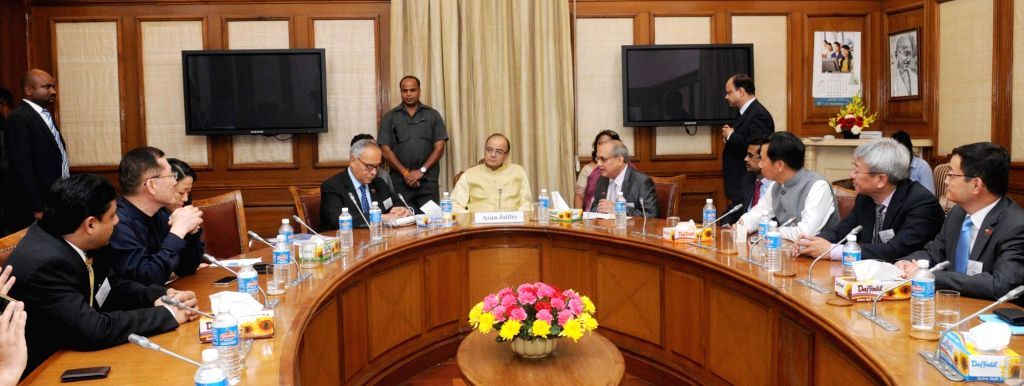 A delegation of Chinese CEO's along with the DG, CII Chandrajit Banerjee calls on Union Minister for Finance and Corporate Affairs Arun Jaitley in New Delhi on Sept 8, 2016. - Chandrajit Banerjee and Affairs Arun Jaitley