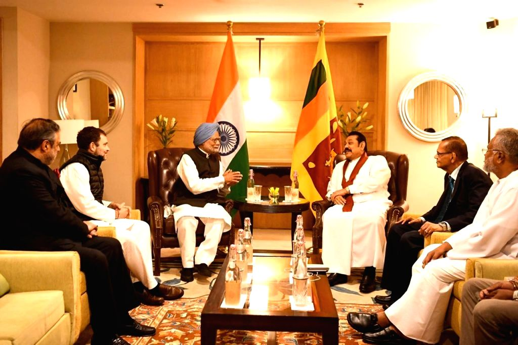 A delegation of Congress leaders led by party leaders Manmohan Singh, Rahul Gandhi and Anand Sharma, call on Sri Lankan President Mahinda Rajapaksa in New Delhi on Feb 8, 2020. - Manmohan Singh, Rahul Gandhi and Anand Sharma