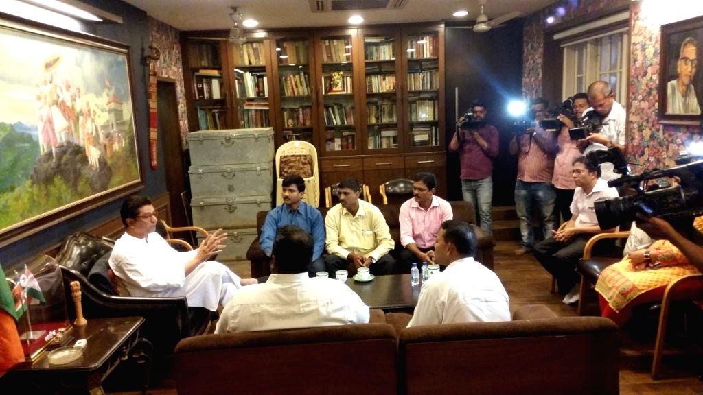 A delegation of Dahi Handi festival organisers call on Maharashtra Navnirman Sena (MNS) chief Raj Thackeray in Mumbai, on July 7, 2017.