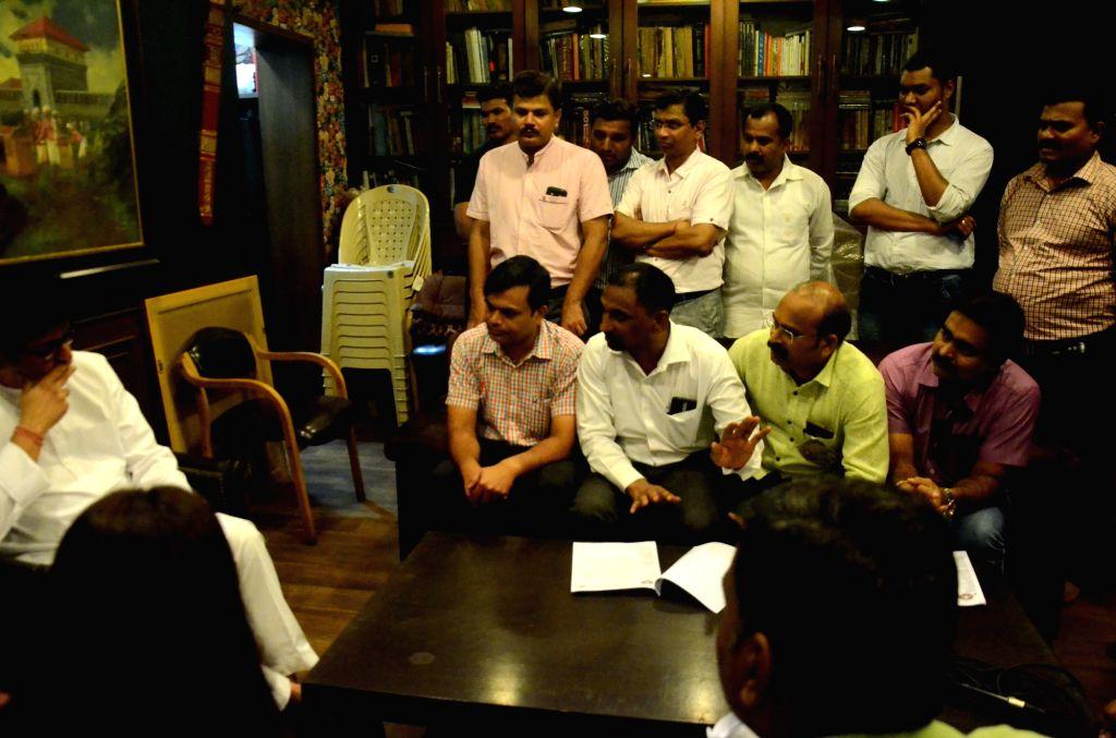 A delegation of Homeopathic doctors meet Maharashtra Navnirman Sena (MNS) President Raj Thackeray over National Medical Commission (NMC) Bill 2017, at his residence in Mumbai on April 4, ...