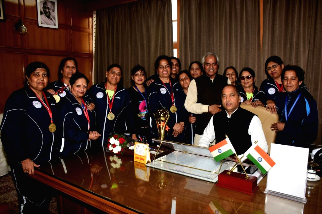 A delegation of Indian Masters Women Hockey Team led by former MP Virender Kashyap, calls on Himachal Pradesh Chief Minister Jai Ram Thakur, in Shimla on June 4, 2019. - Jai Ram Thakur and Virender Kashyap