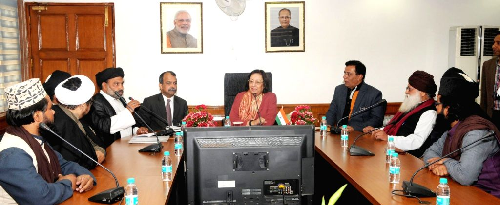 A delegation of Muslim Community led by Maulana Syed Kokab Mujtaba Abidi calls on Union Minister for Minority Affairs, Dr. Najma A. Heptulla, in New Delhi on Jan 18, 2016.
