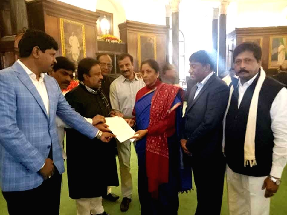 A delegation of Telangana Rashtra Samithi (TRS) MPs led by A. P. Jithender Reddy, J Santosh and K Prabhakar Reddy call on Defence Minister Nirmala Sitharaman at Parliament, in New Delhi on ... - Nirmala Sitharaman and K Prabhakar Reddy