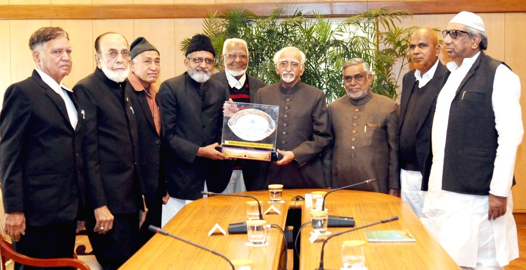 A delegation of the Marwar Muslim Educational and Welfare Society calls on the Vice President M. Hamid Ansari, in New Delhi on Jan 13, 2017.