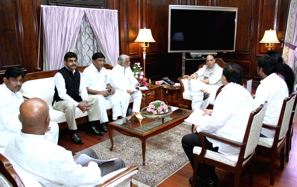 A delegation of TRS MPs calls on the Union Home Minister, Rajnath Singh, in New Delhi on August 21, 2014.