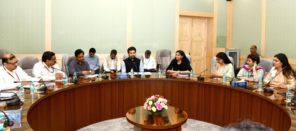 A delegation of US- India Business Council led by its President Nisha Biswal meets the Minister of State for Finance and Corporate Affairs Anurag Singh Thakur, in New Delhi on July 17, ...