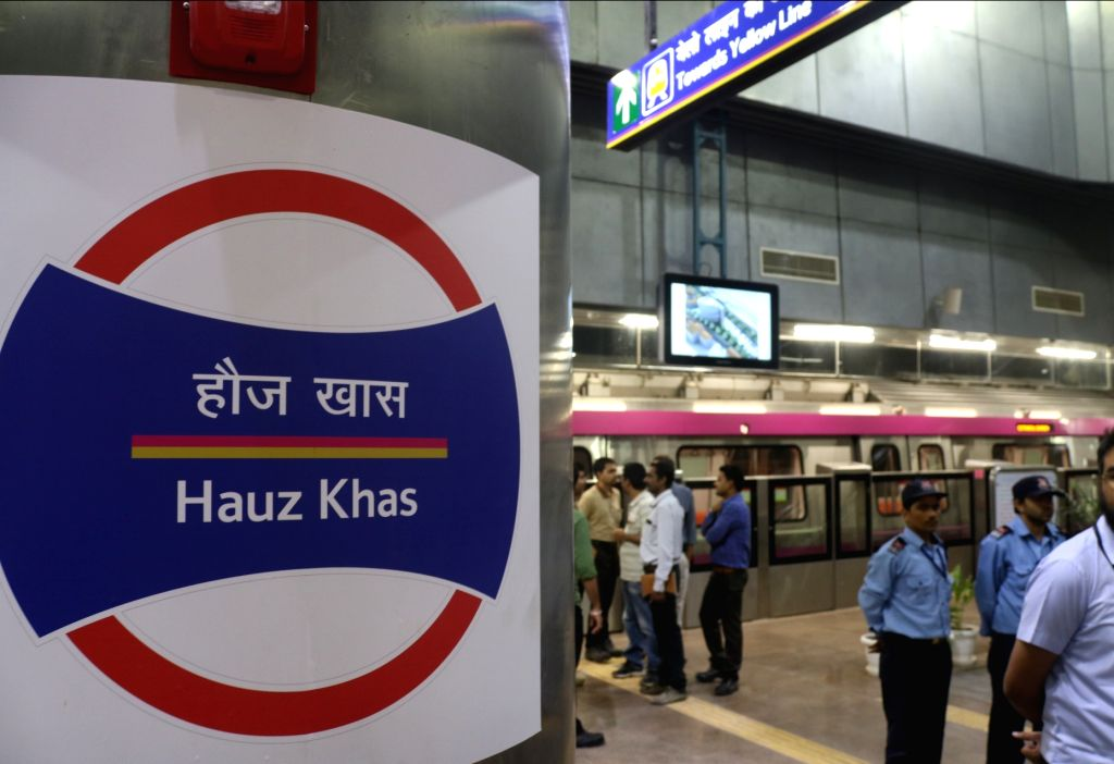 A Delhi metro rake at Hauz Khas metro station on Delhi metro's magenta line that is scheduled to be thrown open to the public on May 29, during a trial run in New Delhi on May 24, 2018.