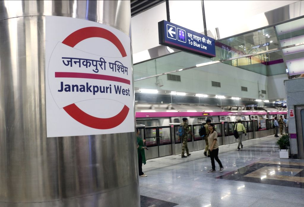 A Delhi metro rake at Janakpuri West metro station on Delhi metro's magenta line that is scheduled to be thrown open to the public on May 29, during a trial run in New Delhi on May 24, ...