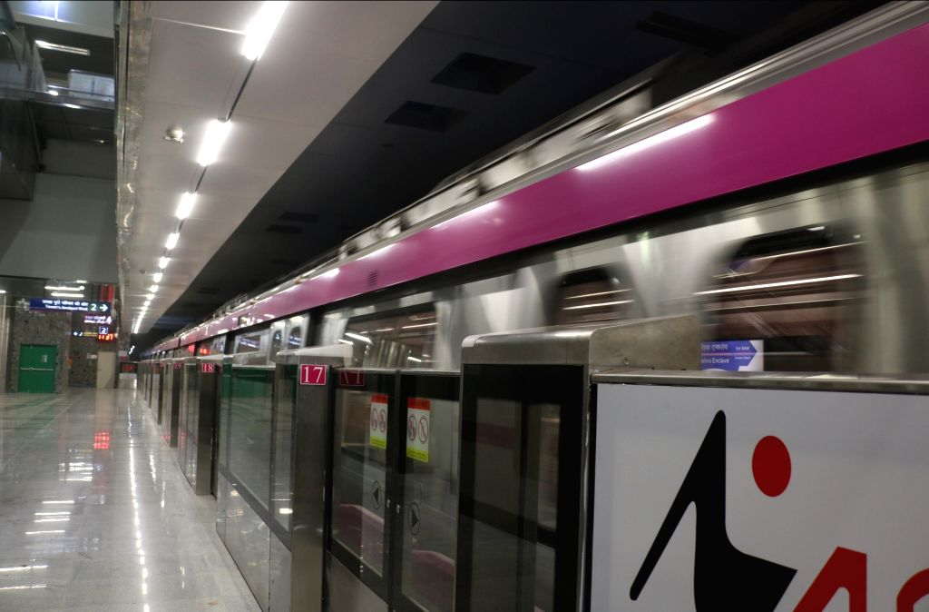 A Delhi metro rake on the magenta line that is scheduled to be thrown open to the public on May 29, during trial run in New Delhi on May 24, 2018.