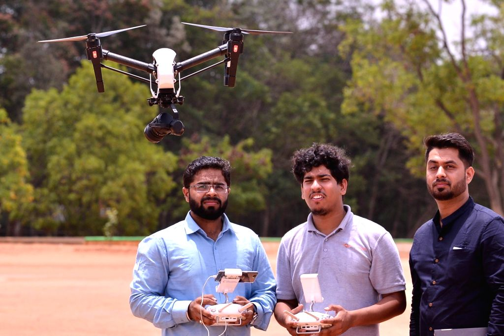 A drone being tested at the launch of a pilot project by Karnataka government in which Unmanned Aerial Vehicles (UAVs) will be deployed in applications related to Agriculture, Policing and ...