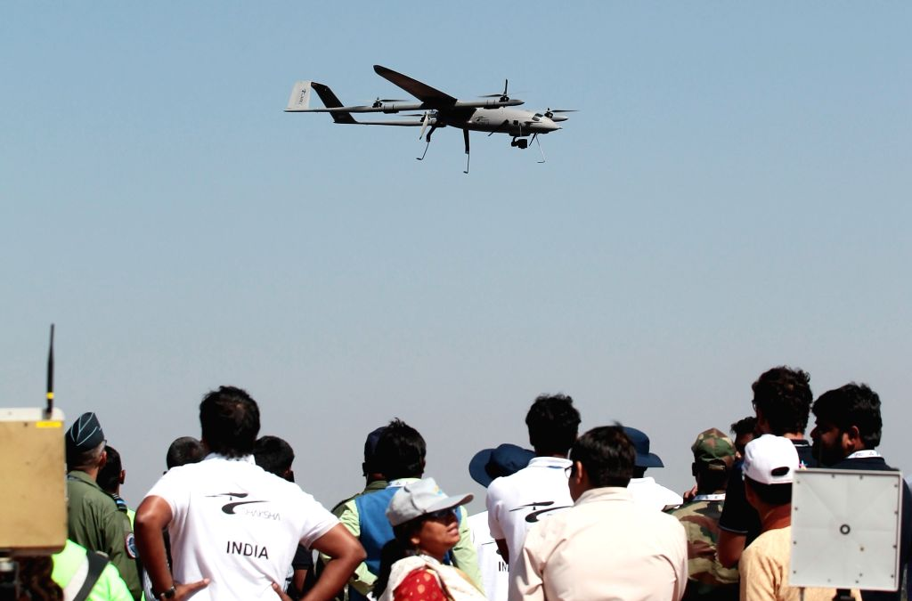 """A drone during Drone Olympics - part of the ongoing """"Aero India 2019"""" air show - at Yelahanka Air Force Station, in Bengaluru, on Feb 21, 2019."""