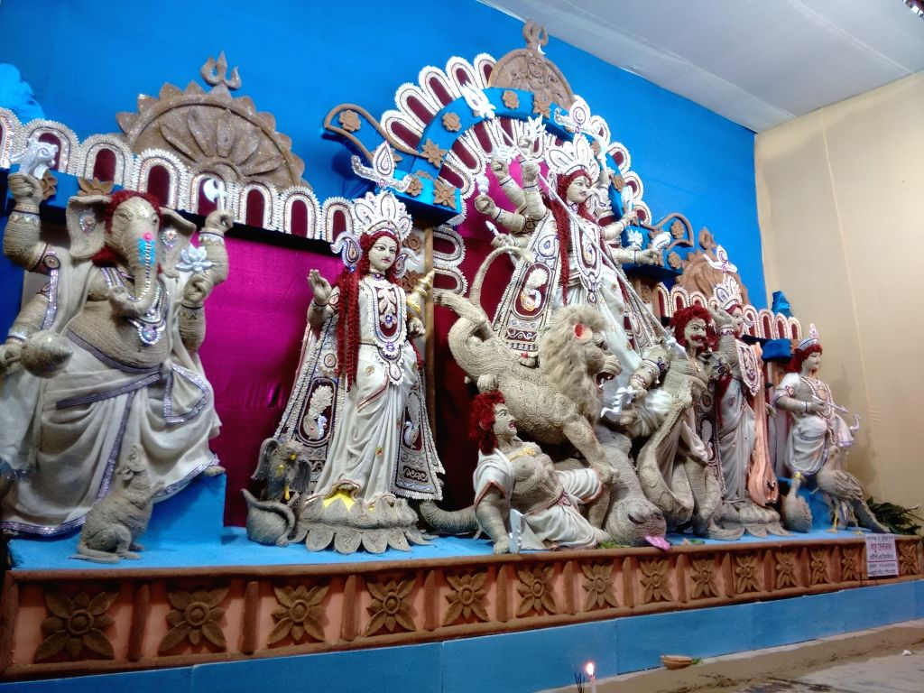 A Durga idol made up of Jute at a Durga Puja Pandal in Agartala on Oct 7, 2016.