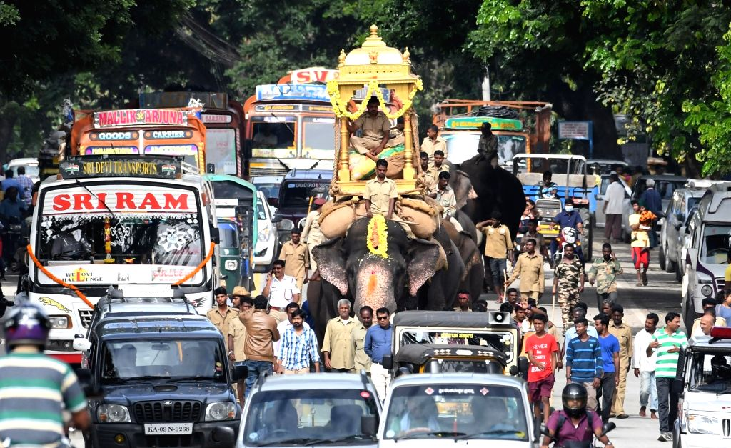 A Dussehra elephant carries a wooden howdah accompanied by other elephants during rehersels ahead of Dussehra in Bengaluru on Sept 18, 2017.