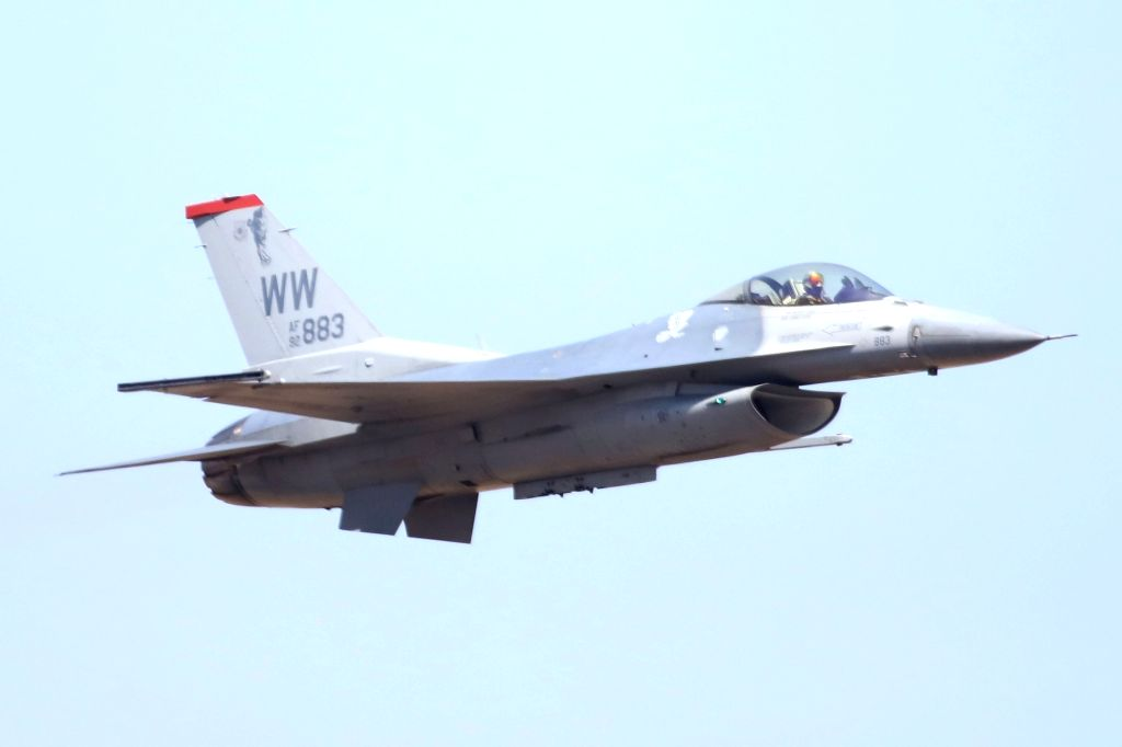 "A F-16 fighter jet at ""Aero India 2019"" - air show at Yelahanka Air Force Station, in Bengaluru, on Feb 20, 2019."