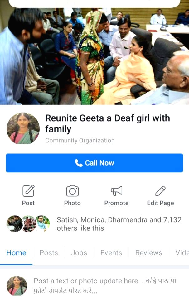 A Facebook page has been created for Geeta, the 27-year-old deaf and mute woman, who was rescued from Pakistan and brought back to India after being stranded there for 15 years.