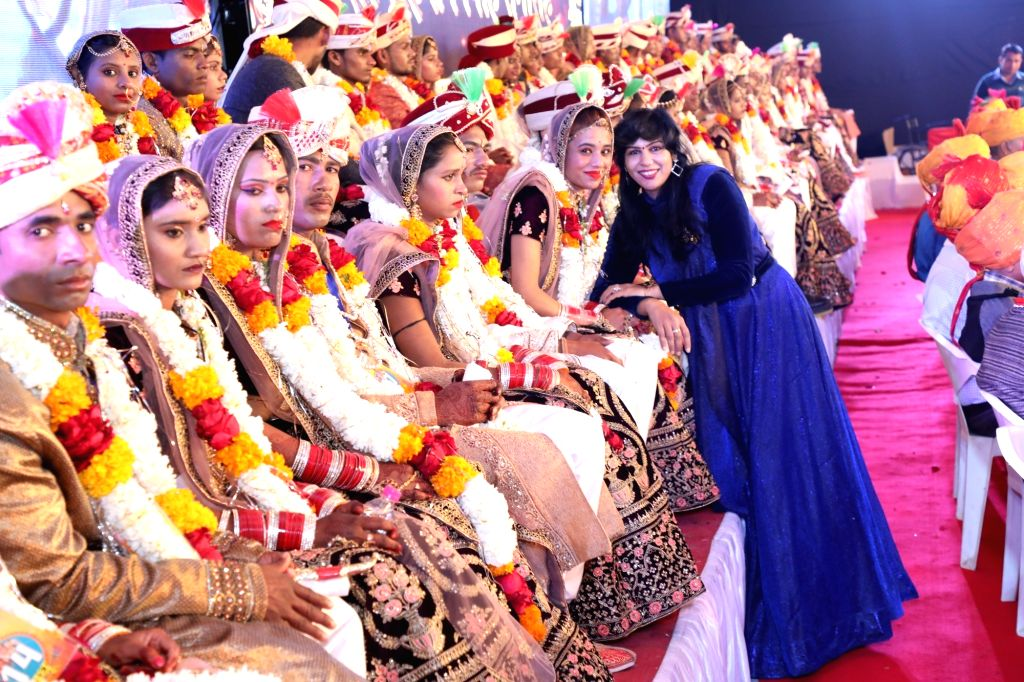 A few of the 47 differently-abled couples who tied the knot at 34th Royal Mass Wedding Ceremony organised by Narayan Seva Sansthan, a Non-Profit Organization, in Jaipur on Feb 9, 2020.
