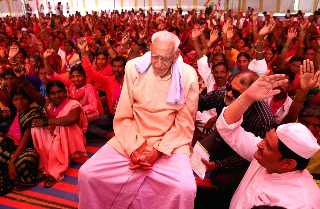 A file photo of 103-year-old  H.S. Doreswamy, centenarian freedom fighter, activist and Karnataka's noted voice for freedom of expression who passed away today, in Bengaluru on Wednesday 26th May 2021