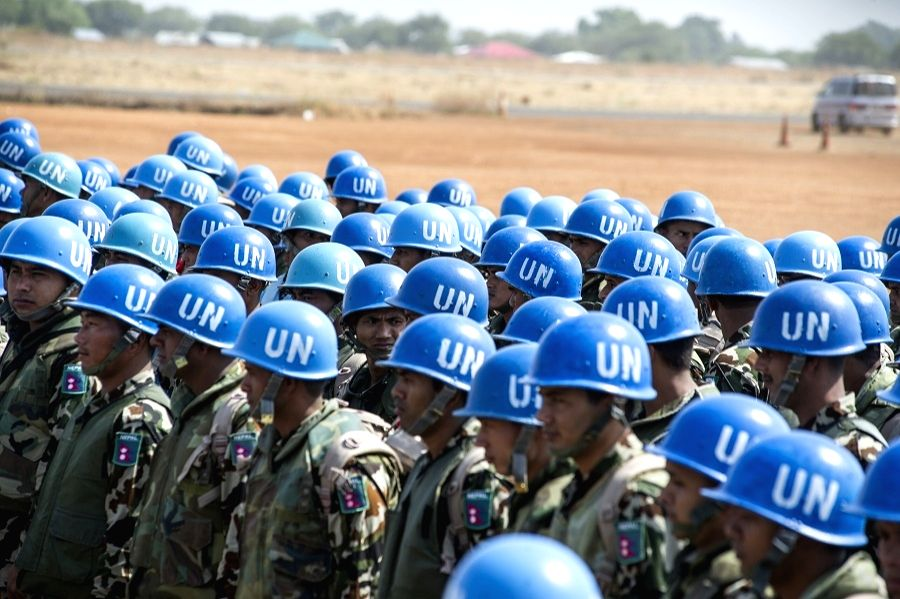 A file photo of Nepalese peacekeepers deployed with the United Nations Mission in South Sudan.