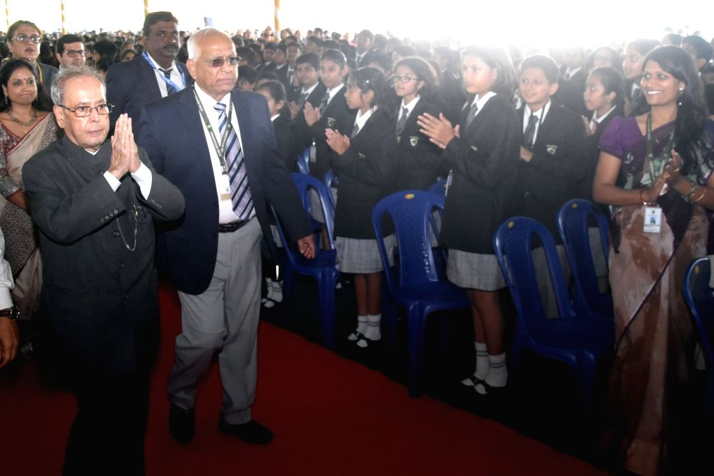A file photo of then President of India Pranab Mukherjee arriving at an interaction programme with the students of Greenwood High International School. Mukherjee passed away on Monday evening at ... - Pranab Mukherjee