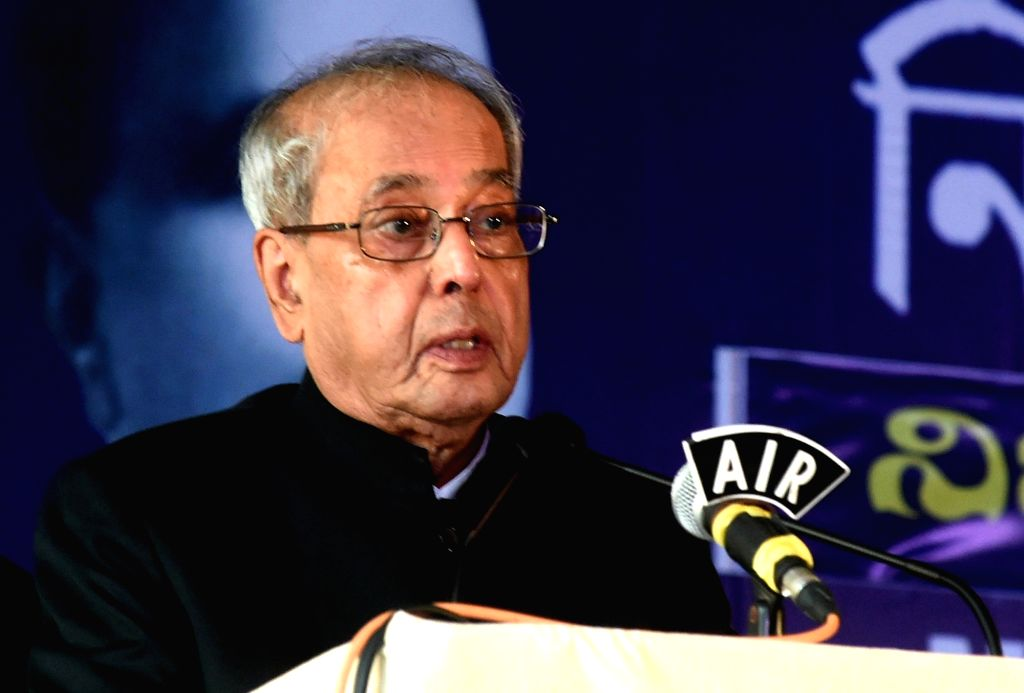 A file photo of then President of India Pranab Mukherjee addressing at the inauguration of 89th Annual conference of Nikhil Bharat Sahitya Sammelan in Bengaluru. Mukherjee passed away on Monday evening at Army's Research and Referral Hospital in New  - Pranab Mukherjee