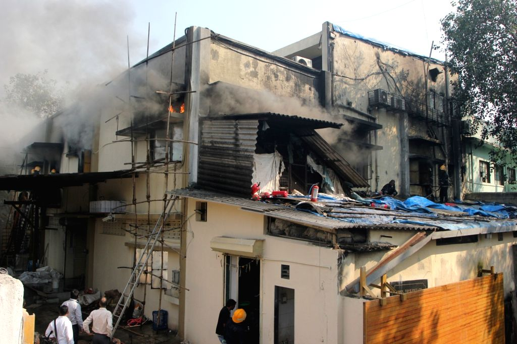 A fire breaks out at a toy factory in Mumbai on Oct 19, 2016.
