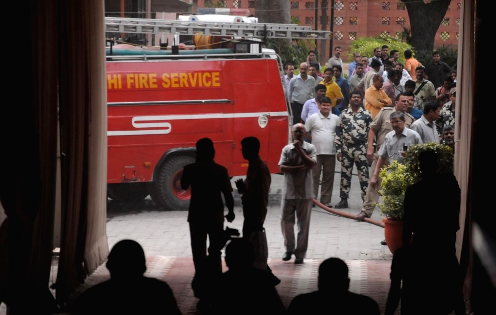 A fire breaks out on the second floor of the Parliament Annexe in New Delhi, on April 10, 2016.