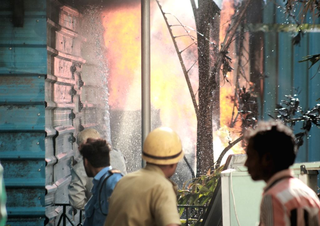 A fire broke out at a vacant plot located in the back-alley of Western Court situated on Janpath Road in New Delhi on June 12, 2017.