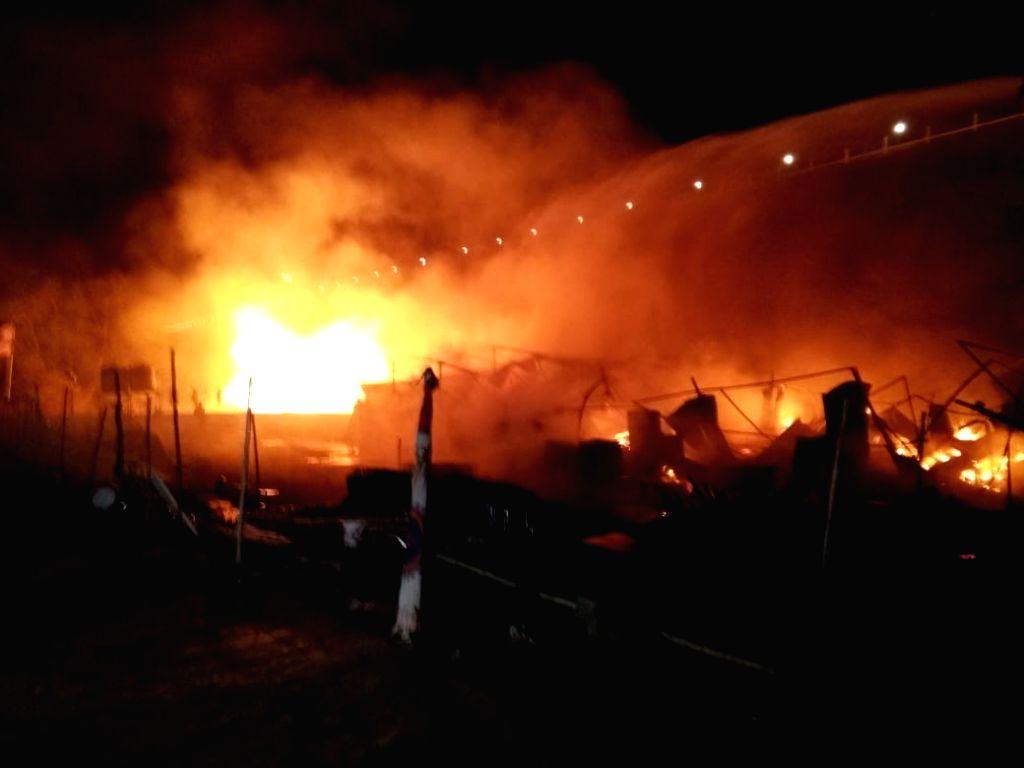 A fire broke out in a godown at Kevadiya colony in Gujarat's Narmada district, on Feb 12, 2019.