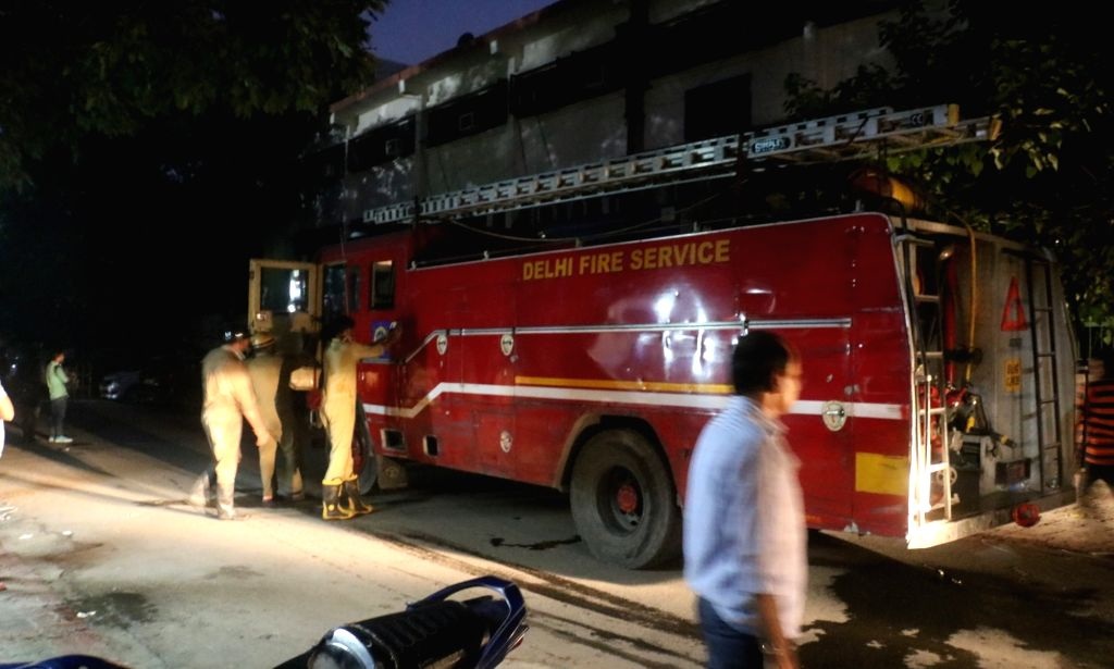 A fire engine outside Vikas Bhawan where a fire broke out on Aug 27, 2019. According to a senior fire official, the fire broke out on the second floor at the office of the Delhi Commission ...