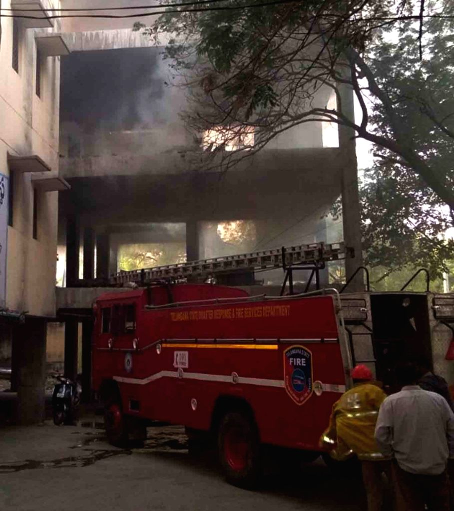 A fire engine parked outside GHMC office after fire broke out at its first floor in Khairatabad, Hyderabad on Feb 6, 2018.