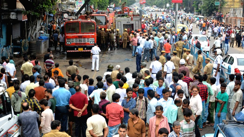 A fire engine parked outside the godown that caught fire, in Kolkata on May 23, 2018.