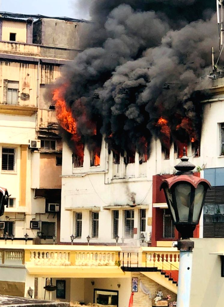 A fire that broke out in a four-storeyed building in south Kolkata's bustling Chowringhee Road, in Kolkata, on April 26, 2019.